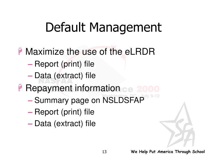 Default Management