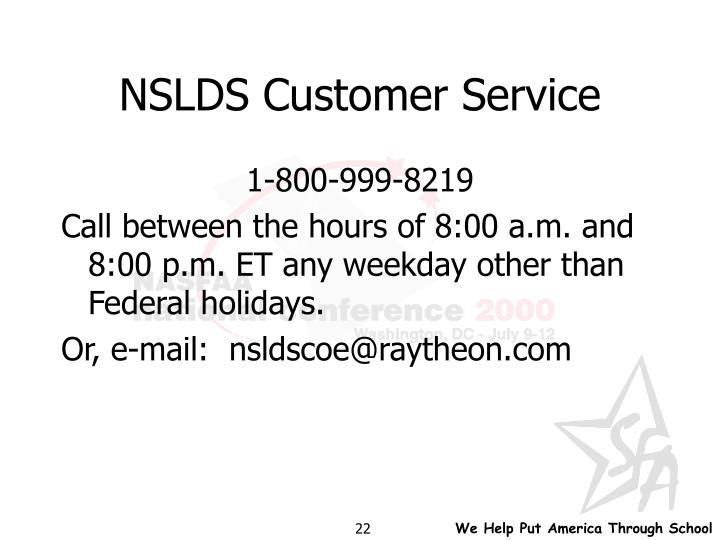 NSLDS Customer Service