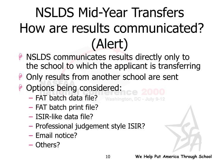 NSLDS Mid-Year Transfers