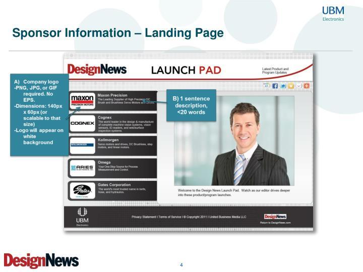 Sponsor Information – Landing Page