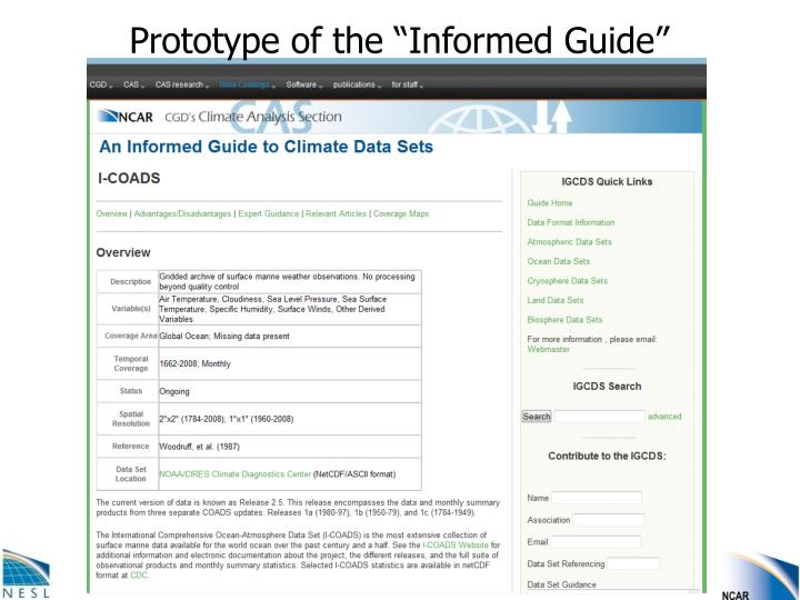 "Prototype of the ""Informed Guide"""
