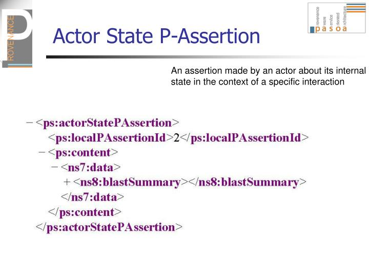 Actor State P-Assertion