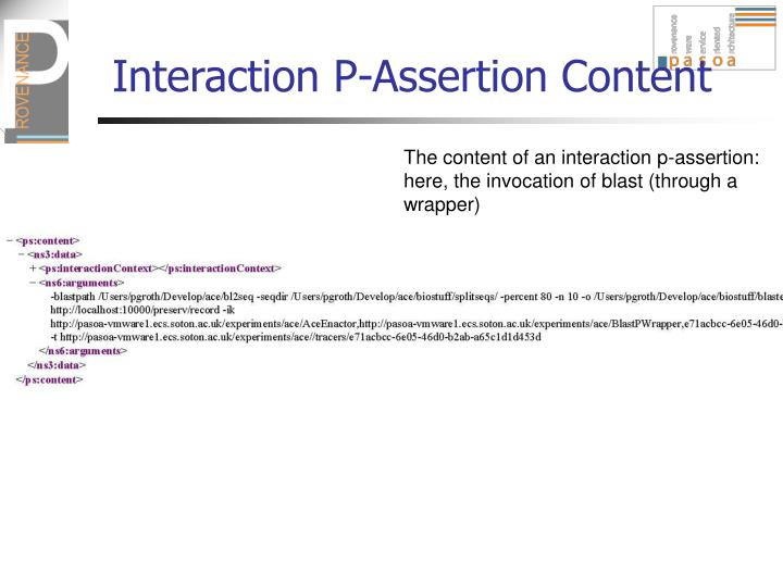 Interaction P-Assertion Content