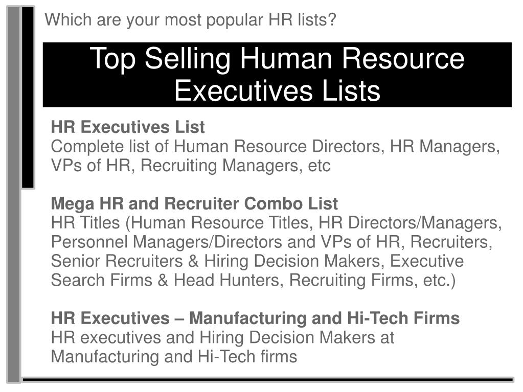 Which are your most popular HR lists?