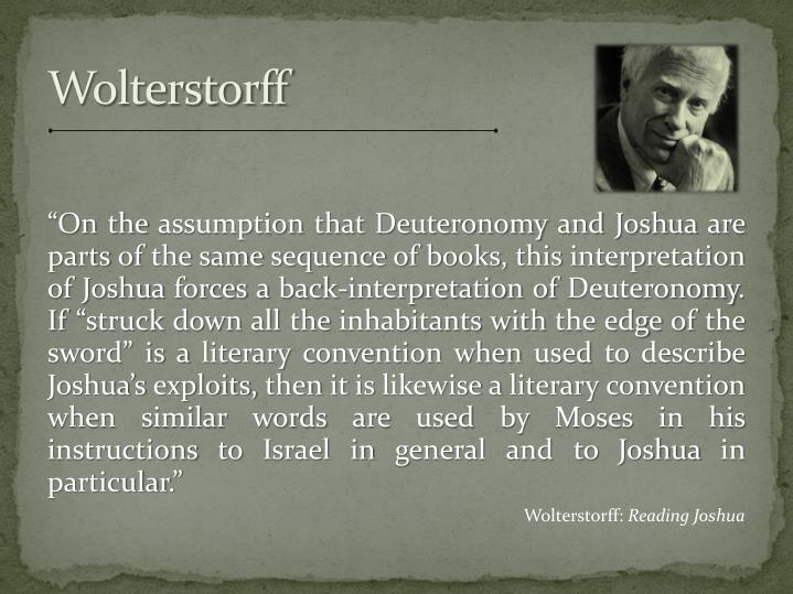 """On the assumption that Deuteronomy and Joshua are parts of the same sequence of books, this interpretation of Joshua forces a back-interpretation of Deuteronomy.  If ""struck down all the inhabitants with the edge of the sword"" is a literary convention when used to describe Joshua's exploits, then it is likewise a literary convention when similar words are used by Moses in his instructions to Israel in general and to Joshua in particular."""
