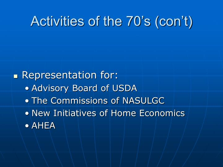 Activities of the 70's (con't)