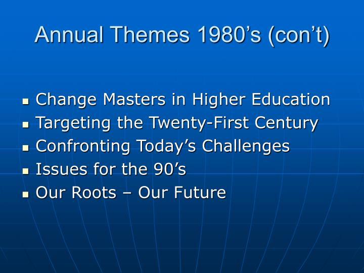 Annual Themes 1980's (con't)
