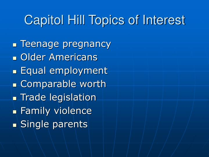 Capitol Hill Topics of Interest
