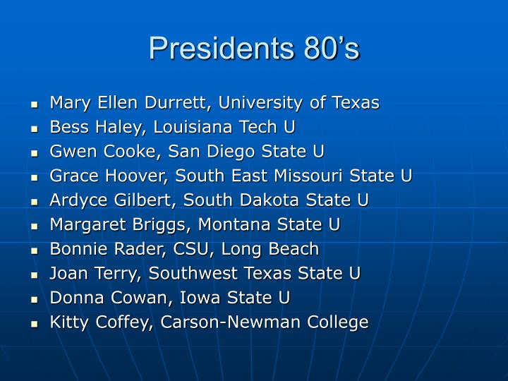 Presidents 80's