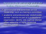 service to the university and to the nation state and community1