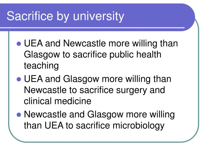 Sacrifice by university