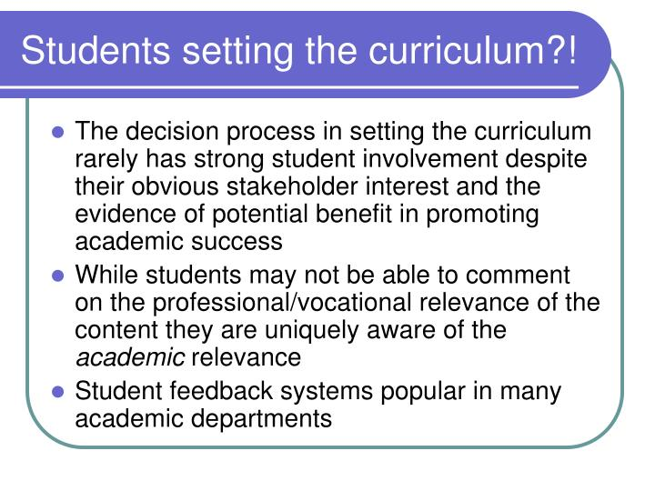 Students setting the curriculum?!