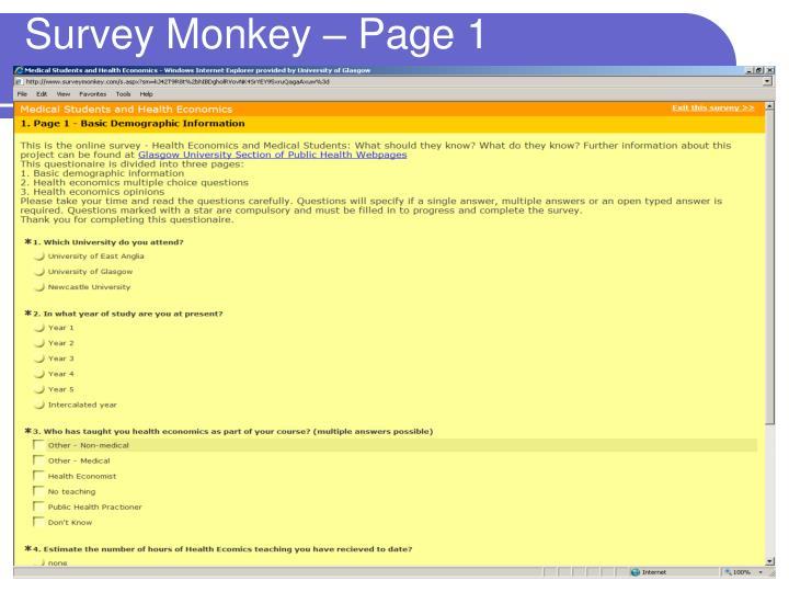 Survey Monkey – Page 1