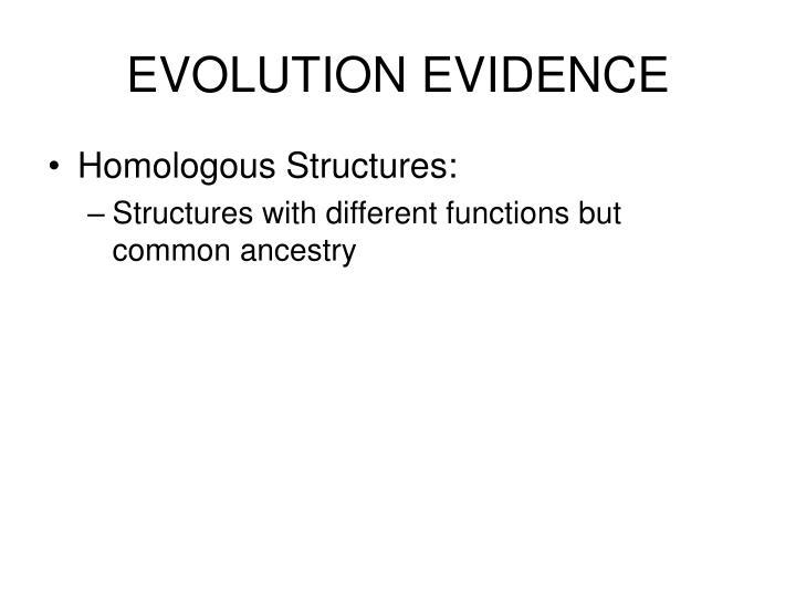 EVOLUTION EVIDENCE