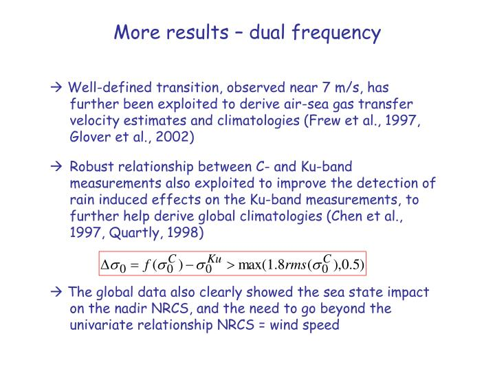 More results – dual frequency