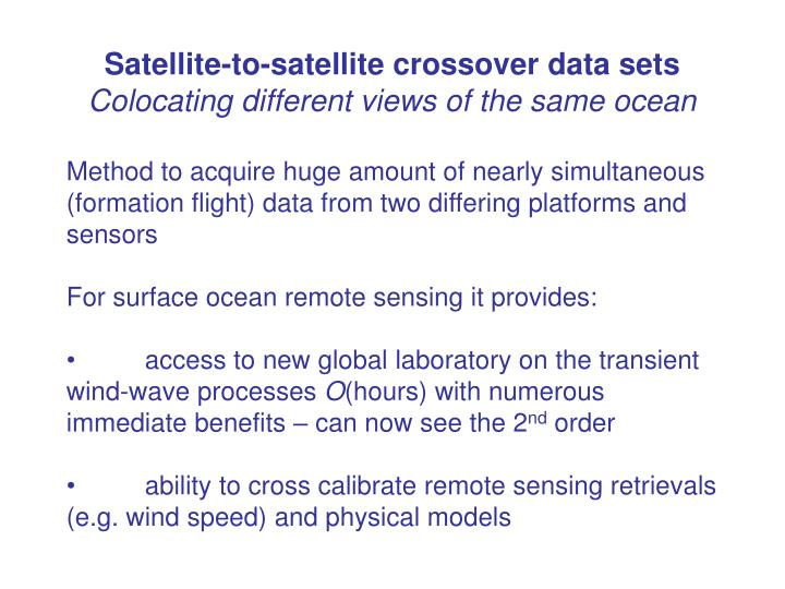 Satellite-to-satellite crossover data sets