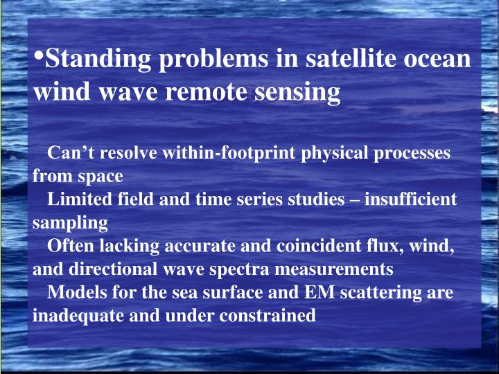 Standing problems in satellite ocean wind wave remote sensing