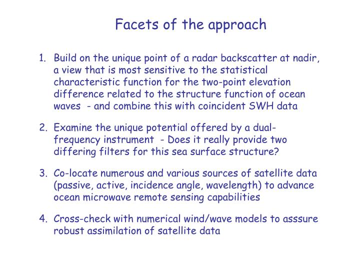 Facets of the approach
