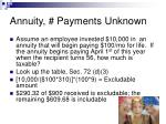 annuity payments unknown