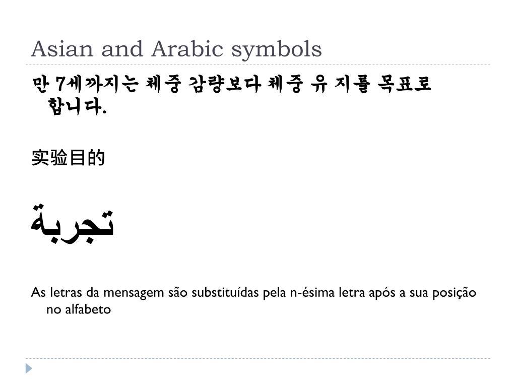 Asian and Arabic symbols