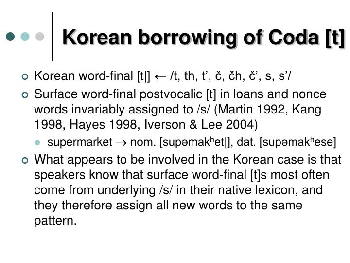 Korean borrowing of Coda [t]