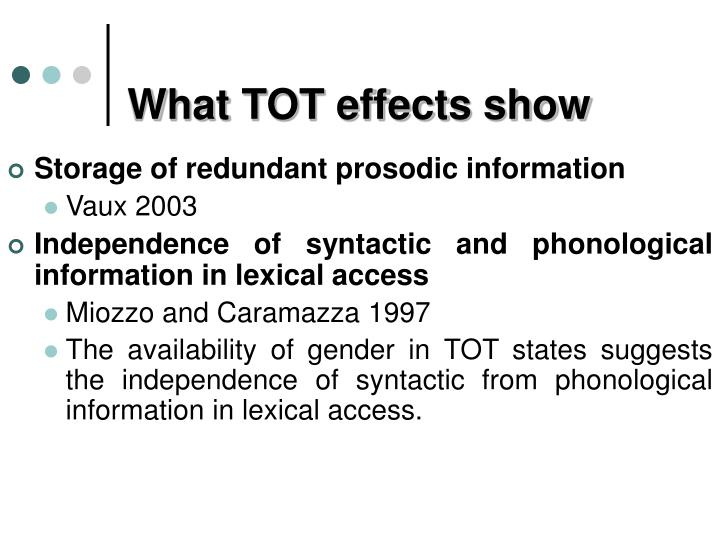 What TOT effects show