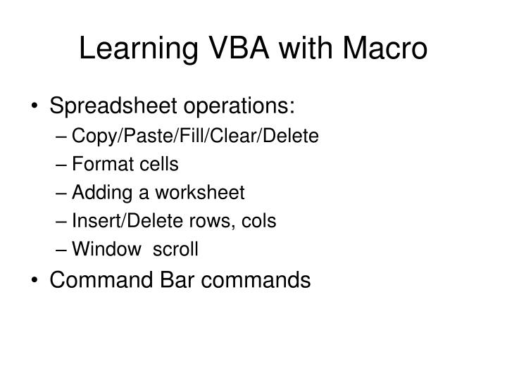 Learning VBA with Macro
