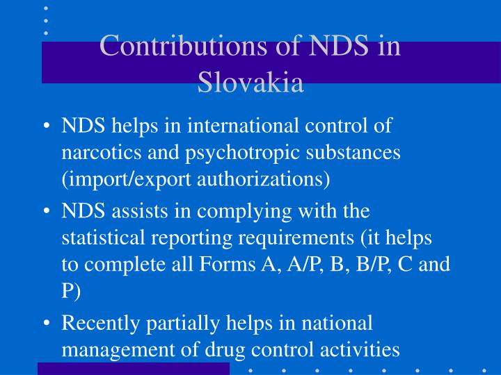 Contributions of NDS in Slovakia