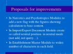 proposals for improvements