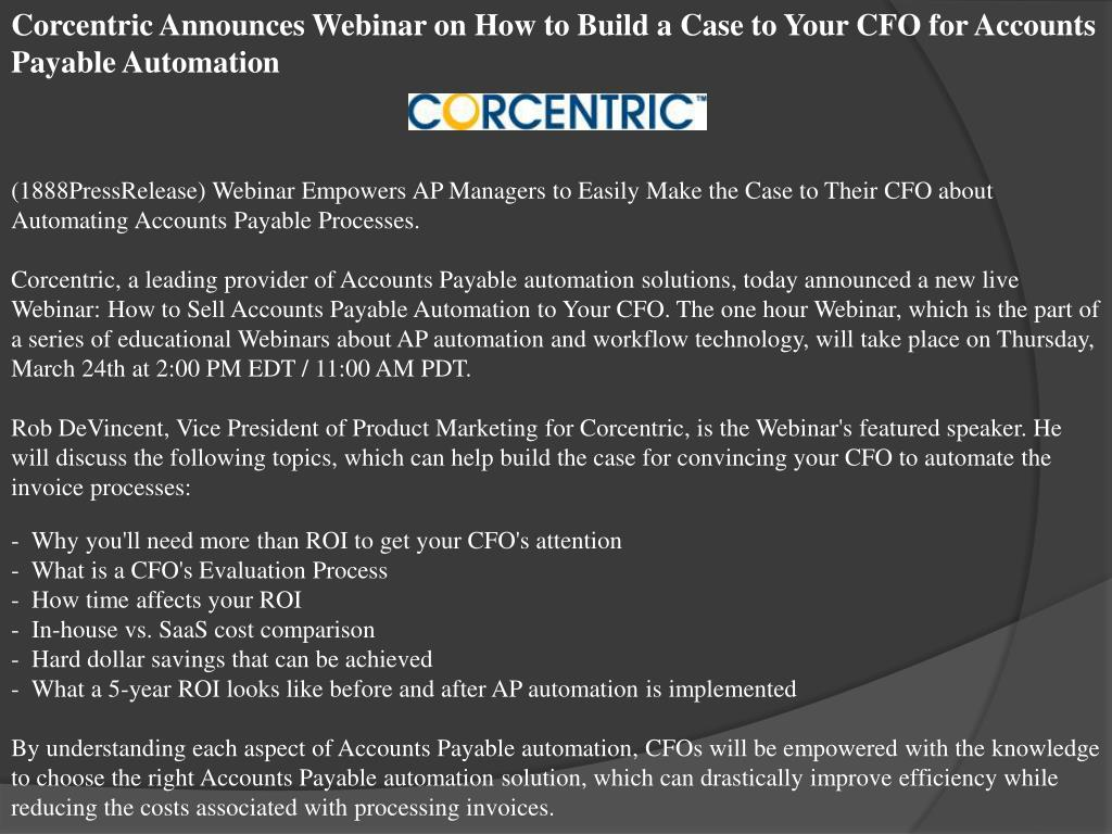 Corcentric Announces Webinar on How to Build a Case to Your CFO for Accounts Payable Automation