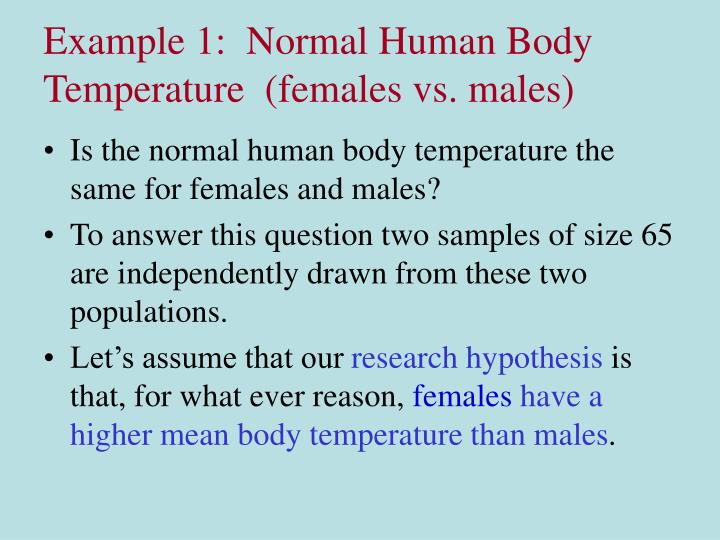 Example 1:  Normal Human Body Temperature  (females vs. males)