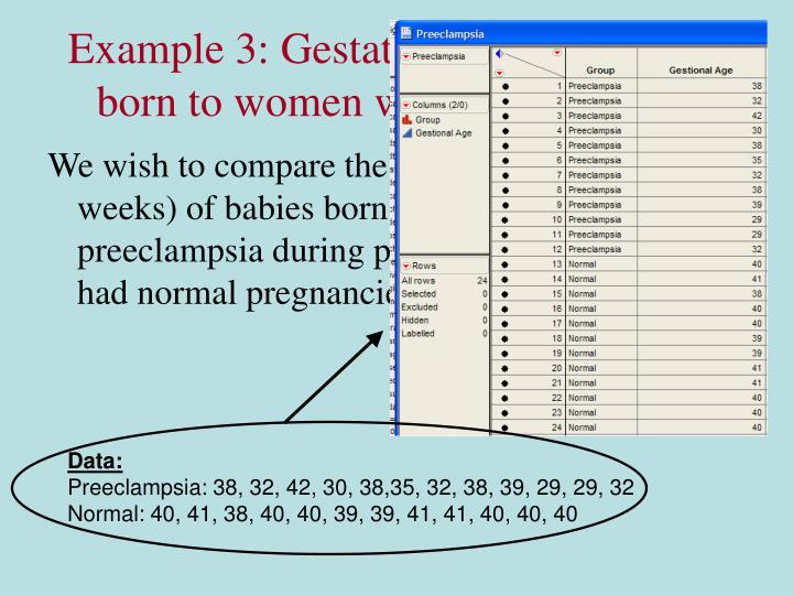 Example 3: Gestational age of babies born to women with preeclampsia