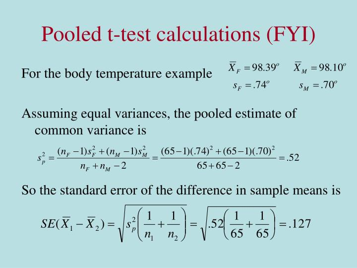 Pooled t-test calculations (FYI)