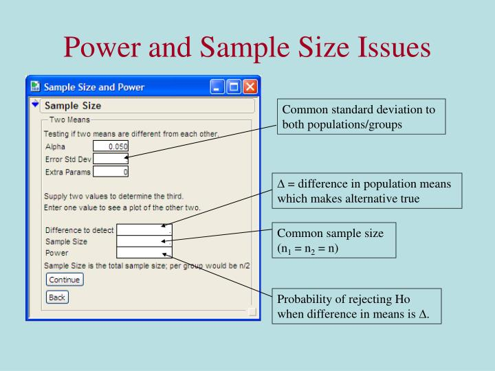 Power and Sample Size Issues