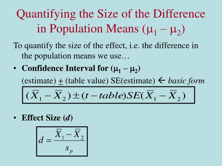 Quantifying the Size of the Difference in Population Means (