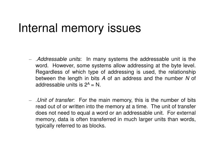 Internal memory issues