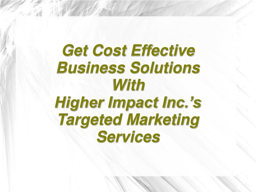Get Cost Effective