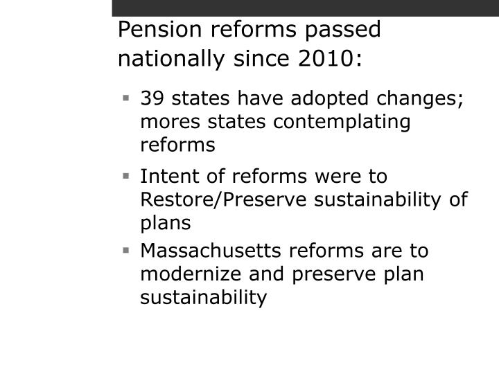 Pension reforms passed nationally since 2010: