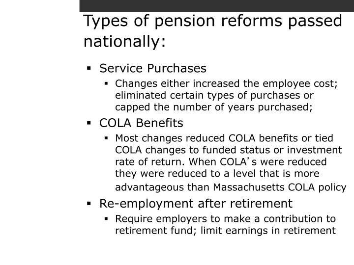 Types of pension reforms passed nationally:
