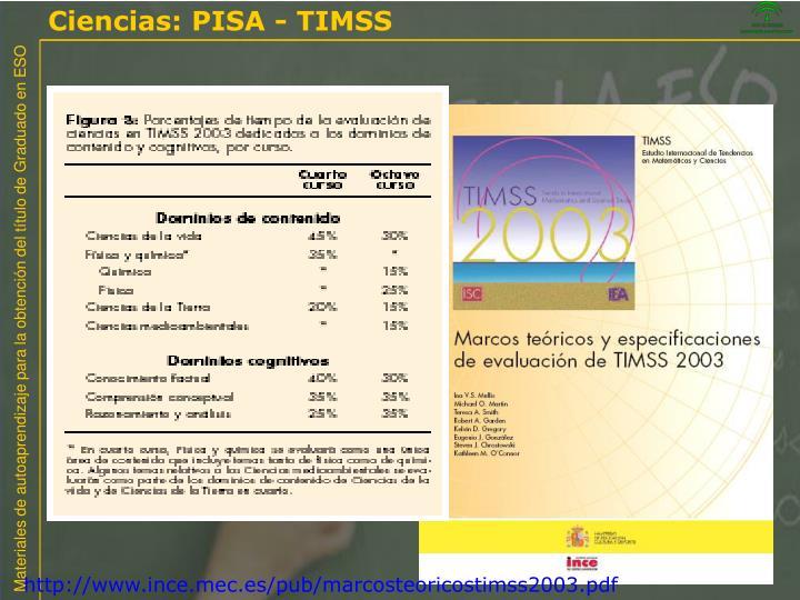 Ciencias: PISA - TIMSS