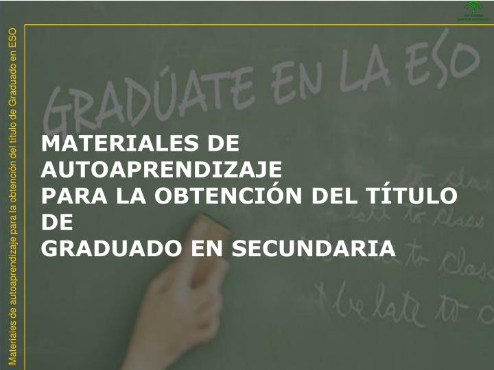 MATERIALES DE AUTOAPRENDIZAJE
