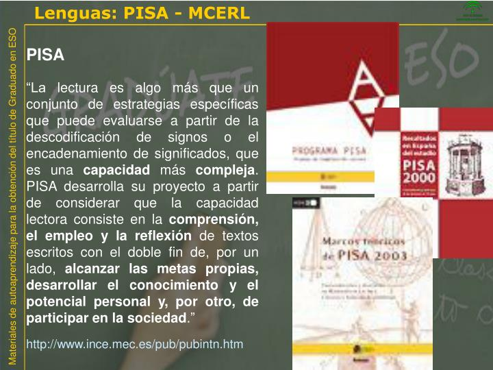 Lenguas: PISA - MCERL