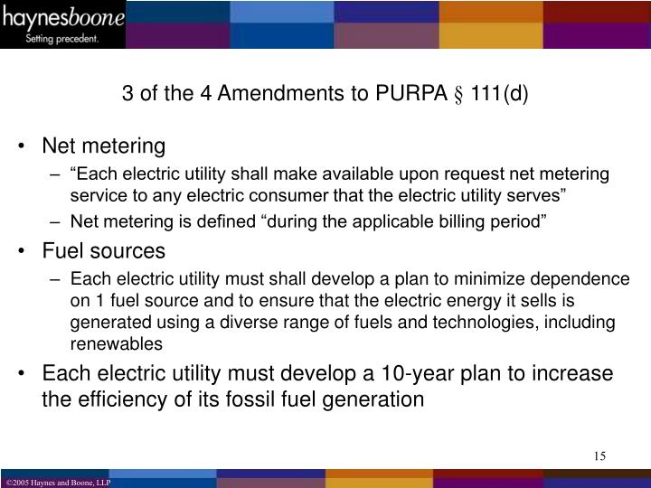 3 of the 4 Amendments to PURPA § 111(d)