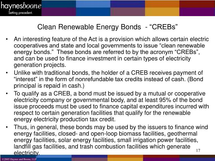 "Clean Renewable Energy Bonds  - ""CREBs"""