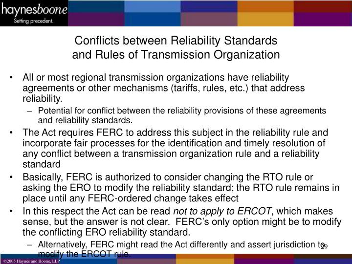 Conflicts between Reliability Standards
