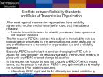 conflicts between reliability standards and rules of transmission organization
