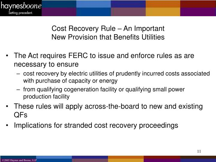 Cost Recovery Rule – An Important