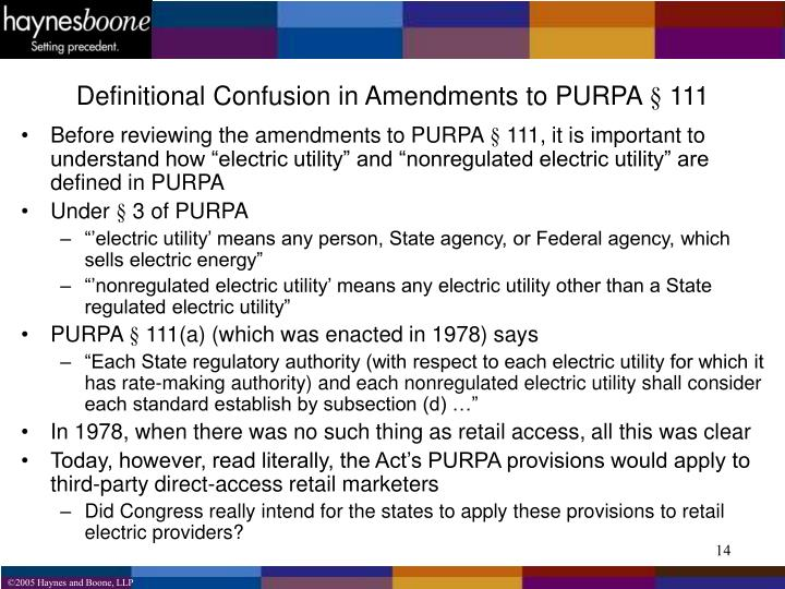 Definitional Confusion in Amendments to PURPA