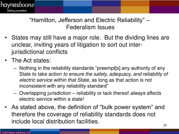"""Hamilton, Jefferson and Electric Reliability"" –"