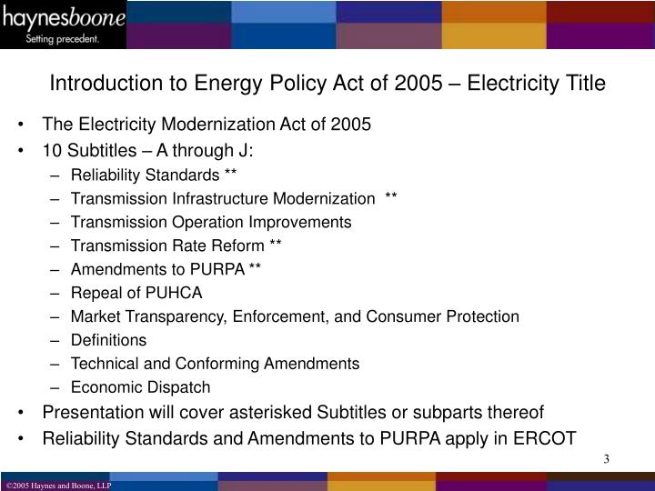Introduction to Energy Policy Act of 2005 – Electricity Title
